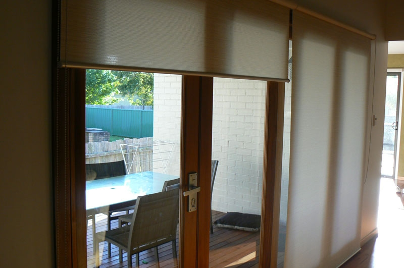 Roller Blinds on Full Length Glass
