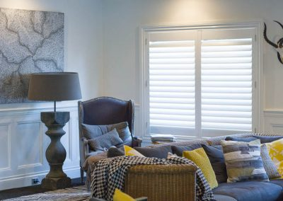 White Plantation Shutters in Lounge Room