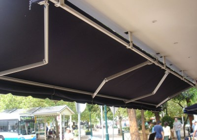 Folding Arm Awning Over Cafe Dining Area