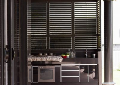Plantation Shutters over Kitchen Bench Windows