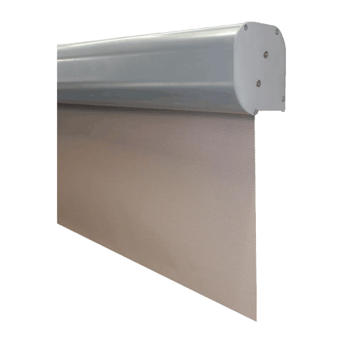 flair cassette for tensioned vertical straight drop awning
