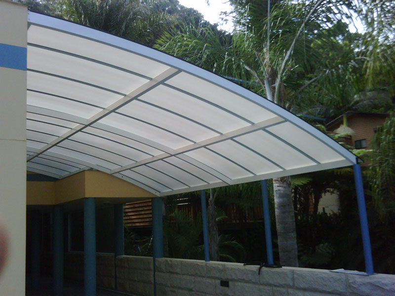 foyer polycarbonate awnings barrel vault