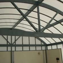 inside view polycarbonate awning barrel vault