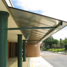 polycarbonate and aluminium sydney window awning over parking pull up area