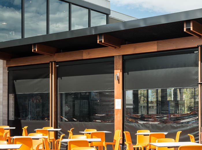 ziptrak cafe blinds with pvc-insert and blockout feature